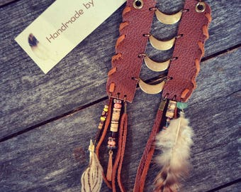 Ethnic Earrings Native Tribal Leather Breast Chain Beads Feathers Aztec Hippie Wood Bohemian Gipsy Aztec Nomade Tribe