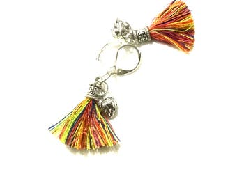 Miniature Silver Lotus Earrings, Rainbow Tassel Lotus Earrings, On Trend Gift, Silver Tassel Earrings,Thank You Gift, Free Local Shipping