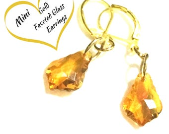 Gold Faceted Glass Earrings, Mini Faceted Earrings, Gold Drop Earrings, On Trend Gift, Colourful Drop Earrings, Free Local Shipping