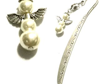 Bookmark OR Letter Opener, Antique Silver Angel Bookmark, Pearl Angel Bookmark, Book Lovers Gift, Cherished Bookmark, Special Keepsake