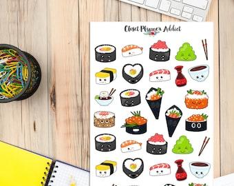 Kawaii Sushi Planner Stickers | Mystery Grab Bag Oct 2017 | Sushi Stickers | I Love Sushi Stickers | Kawaii Stickers (MGB-OCT17)
