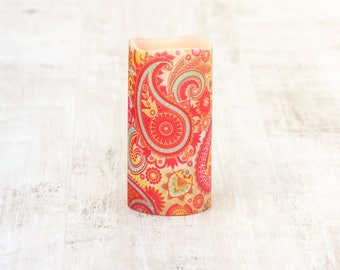 Whimsical Paisley Print Candle, LED Flameless Pillar Candle, Decorative Paisley Pattern Candle, Colorful Home Decor, Red Paisley Print