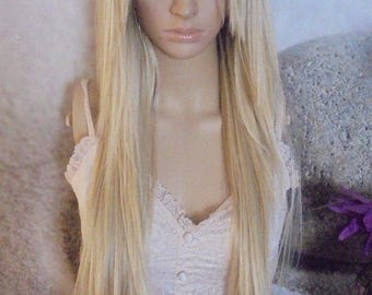 Human hair blend Ombre Dark Roots To Blonde 613 mix Lace Front Wig Hair 26'