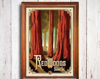 Redwoods poster, Redwoods National Park , Redwoods California, Redwoods art print, Redwoods tree, california trees art poster