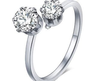 Love Ring, Stainless Steel CuBic Zirconia Love Ring
