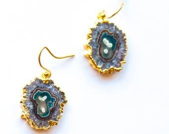 Amethyst Slice Earrings,Gemstone Slice Earrings,Gemstone Drop Earrings ,Stalactite Earrings,Stalactite Jewelry,Raw Crystal Earrings,Amethyst
