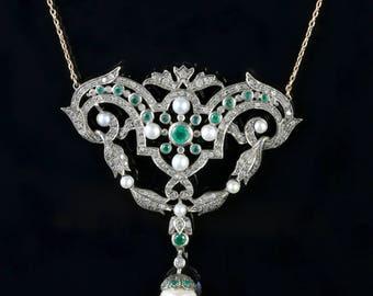 Fabulous Diamond Emerald Pearl Gold Pendant Necklace