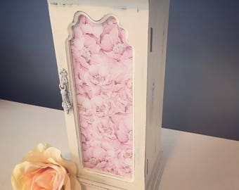 Antique white and pink floral jewelry box -vintage upcycled