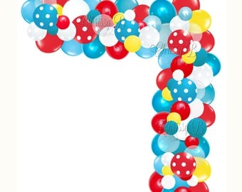 Dr Suess Inspired DIY Balloon Garland Kit in Turquoise and Red - Makes a Full 12 Foot Garland - Baby Shower or Party Decor