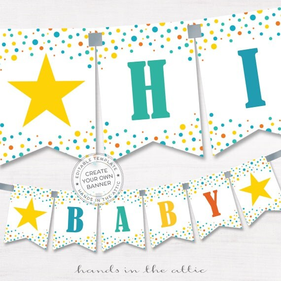Party banner printable baby shower template birthday party gender il570xn maxwellsz
