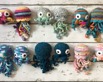 Jellyfish and Octopus Gift Set, Jellyfish, Octopus, Sea Creatures, Crochet Jellyfish, Crochet Octopus, Stuffed Toy, Plushy, Soft Toy