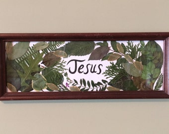 Green Forest Leaves and Jesus Home Decor