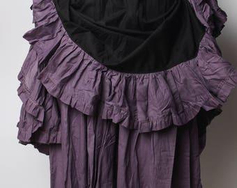 bustle skirt, purple skirt, steam punk skirt, long skirt, long ruffle skirt, flamingo skirt, long skirt, ruffle, ruffled skirt, cotton skirt