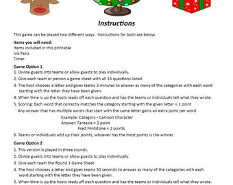 Christmas Scattergories DIGITAL DOWNLOAD, Word Game, Christmas Game, Christmas Party Game, Xmas Party Game, Holiday Party Game