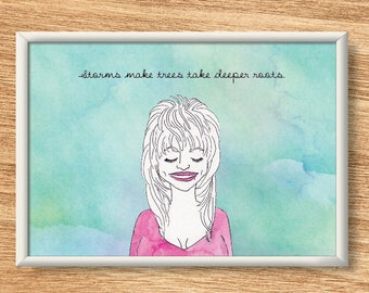 Dolly Parton - Illustrated Watercolor Print - Custom Lyrics