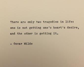 Oscar Wilde quote hand typed on antique typewriter