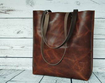 Distressed brown leather tote, real leather, tote bag, nappy bag, leather purse, leather tote, leather shopper, vintage look purse