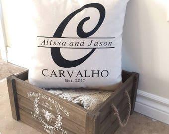 Mr & Mrs. Pillow, Custom Pillow, Monogrammed Pillow, Wedding gift, Family Pillow, Housewarming Gift, Personalized Pillow, Wedding Pillow