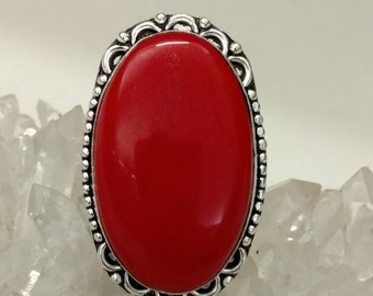 Red Coral Ring, Size 6