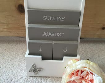 Grey & White Wooden Block Calender with Butterfly Embellishments