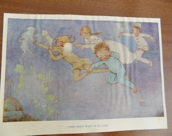 """Vintage Book Illustration from the Book: Peter Pan and Wendy 1931 by Mabel Lucie Attwell """"They dont want us to"""" Framing Supply Free Shipping"""