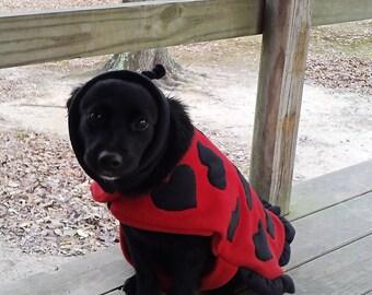 ladybug dog costume, valentines day dog gift, dog clothes, dog sweater, dog coat, dog costume, dog clothing, dog costumes for dogs