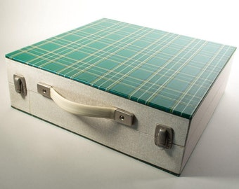 Vintage record box by Cheney England, LP record box, vinyl record suitcase,60s/70s LP file box