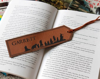 Lord Of The Rings Bookmark, Lord Of the Rings Personalized Bookmark, Leather Bookmark, Custom Bookmark, Back to school --FXBM-RH-LOTRGarrett