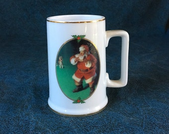Vintage 1996 Collectors Edition Coca Cola Haddon Sundblom Christmas Mug, When Friends Drop In Christmas Mug, Santa Clause Mug