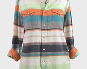 vintage orange stripe western shirt. salt valley usa america - striped shirt orange green blue grey white - size m medium - cotton