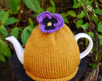 Yellow Tea Cosy with Purple Pansy