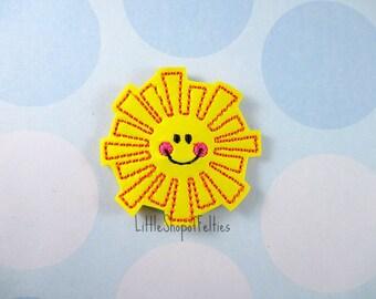RTS Felties Happy Sun (Set of 4 UNCUT) VINYL Felties, Hair Bow Centers, Felt embellishments, Felt Appliques, Ready to Ship