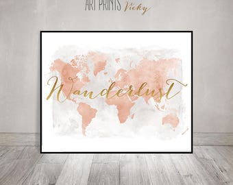 Wanderlust world map poster travel map world map watercolor wanderlust world map wall art watercolor pastel world map poster with faux gold gumiabroncs Images