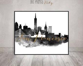 San Francisco art print, black and white art, Wall art, San Francisco skyline, Travel decor, gift, watercolor, faux gold ArtPrintsVicky