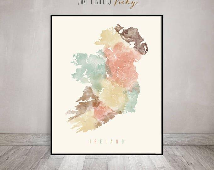 Ireland watercolor map, Ireland pastel map, Travel wall art, Ireland map poster, Ireland art print, Office decor, Home decor, ArtPrintsVicky