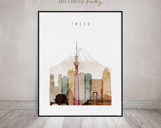 Tokyo wall art, Tokyo skyline print, Tokyo watercolour poster, Travel decor, wall decor, Travel gift, ArtPrintsVicky