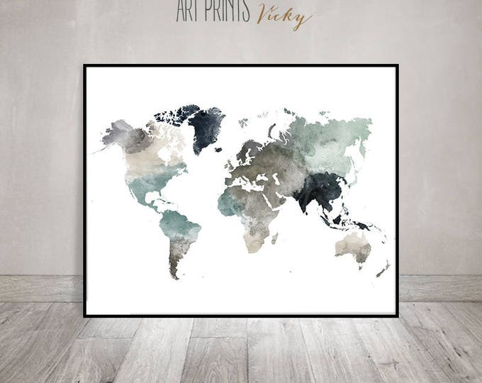 world map poster in earth colours | ArtPrintsVicky.com