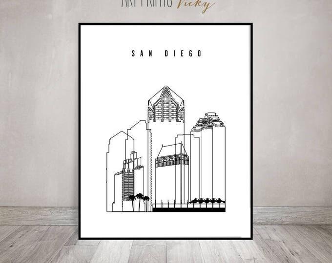 San Diego wall art print, San Diego outline skyline poster, city prints, art prints, travel decor, wall decor, home decor, ArtPrintsVicky