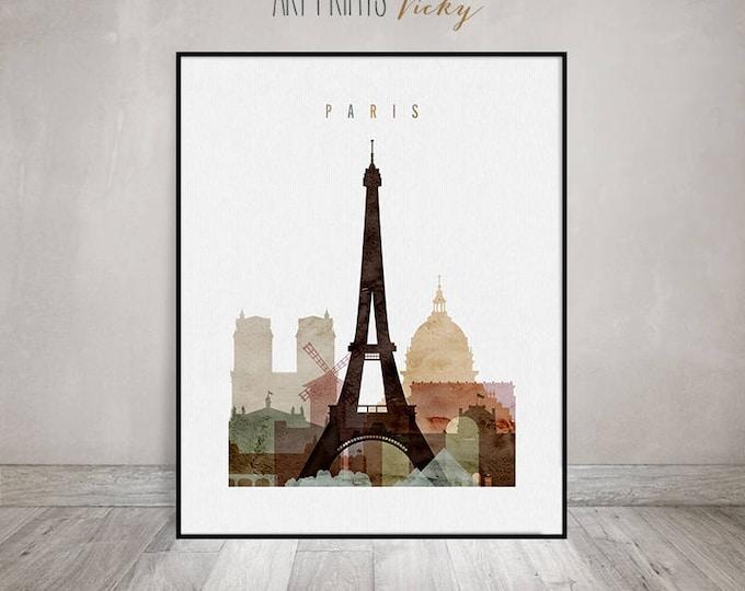 Paris watercolor print, Paris watercolor poster, Wall art, Paris skyline, housewarming gift, travel decor, city print,  ArtPrintsVicky.