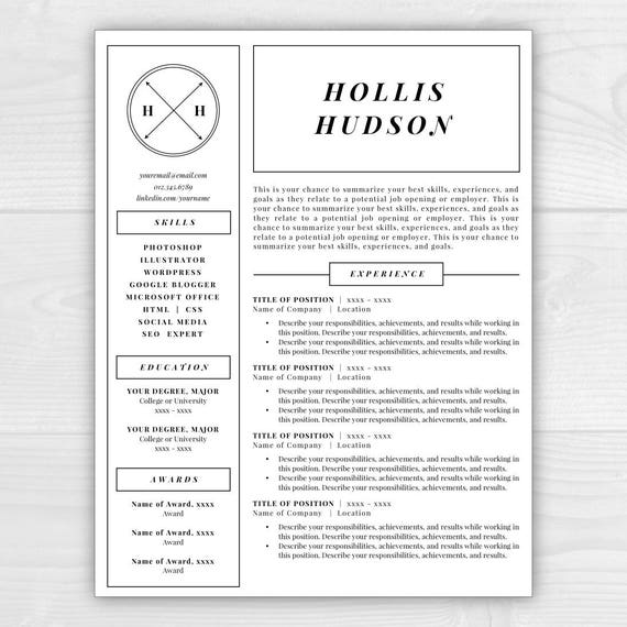 Monogram Resume Template, Professional Resume, Free Resume Template, Resume  Design, Resume Template Word, Resume Cover Letter, Resume  Template Resume Free