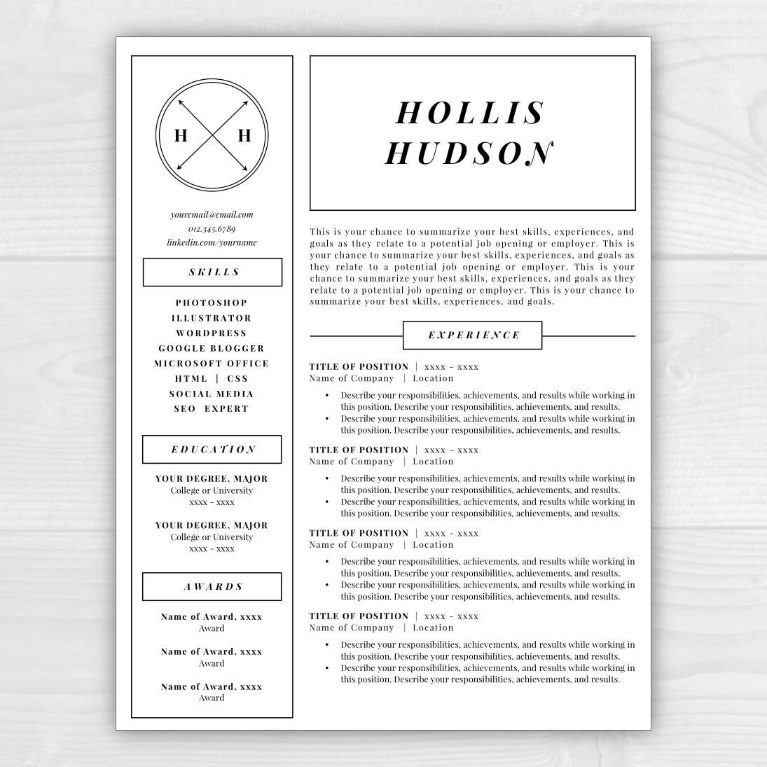 monogram resume template professional resume free resume. Black Bedroom Furniture Sets. Home Design Ideas