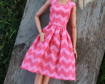 Pink Chevron Barbie Dress, Barbie Clothes, 11.5 inch doll clothes