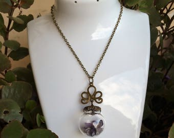 Dome Necklace: genuine Amethyst.