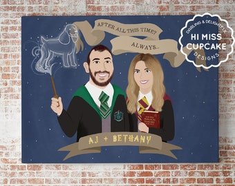 Illustrated Couple Portraits // Valentine Day Personalized Gift Custom Portrait Gifts For Couples Couple Illustration Harry Potter Movie