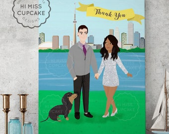 Custom Portrait of Couple Illustration Personalized Portrait Family Illustration with Pets Wedding Gift Wedding Portrait Valentine Day Gift