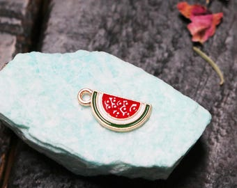 set of 5, watermelon slice charm, gold with enamel, metal charm, summer charm, watermelon charm, boho charm, bracelet charm, 17mm x 6mm