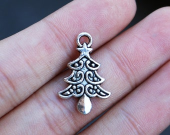 set of 50, christmas tree charms, antique silver, metal charms, bulk charms, 20mm x15mm, charms wholesale, silver christmas, holiday charms