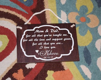 Thank You Mom and Dad - Personalized Sign. Mother and Father/ Parents of the Bride Gift. Hand Painted. Custom made!