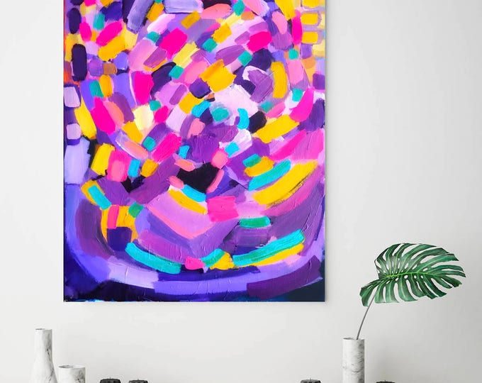 Turquoise & Purple Colourful Abstract Modern Expressionist Canvas Print Small Medium Large Extra Large 16 x 20  Fine Art Print Wall Art