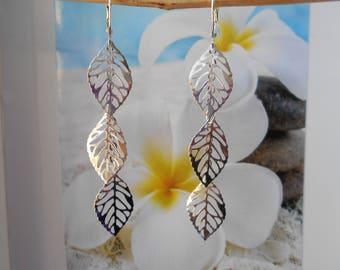 cascade of silver leaf earrings